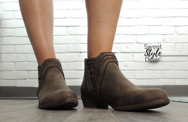 Threaded Brown Booties (Nov. Collection)