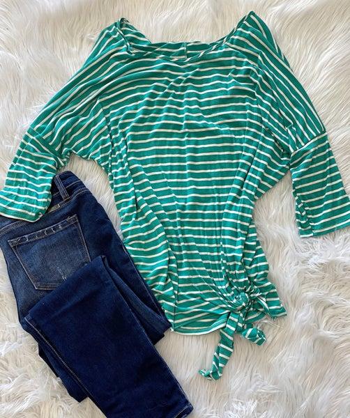 PLUS Green Stripe 3/4 top *Final Sale*