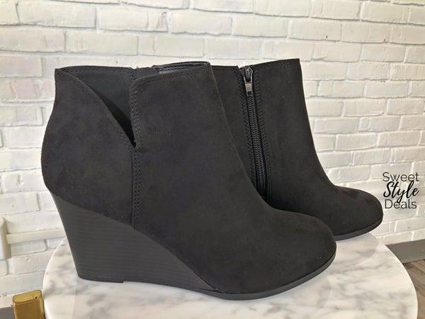 Black Wedge side zip Bootie