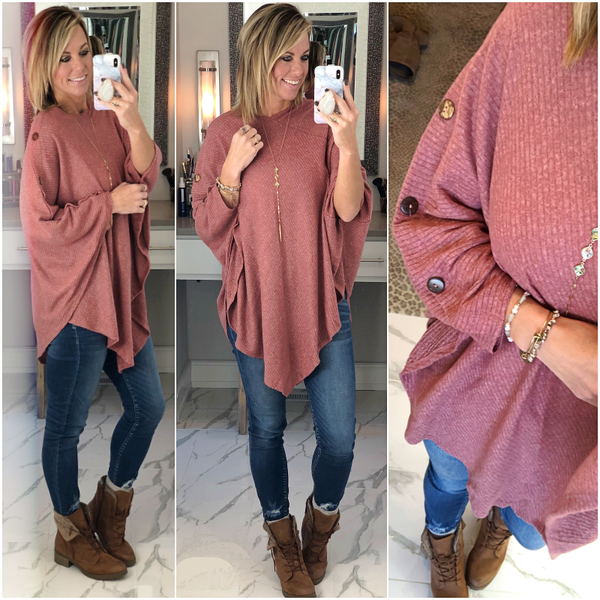 Mauve Button Poncho *Final Sale*