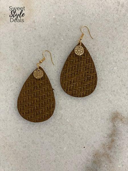 Brown Weave Pattern Teardrop Leather Earrings