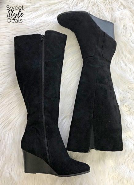 Black Wedge Knee Boots