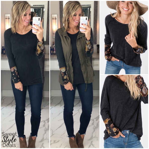Mineral Wash Top w/ Floral Sleeve- *Final Sale*