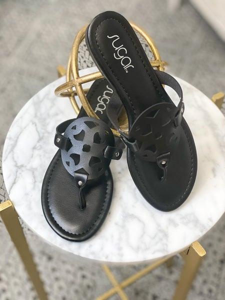 Tory Look-a-Like Sandals (Black)