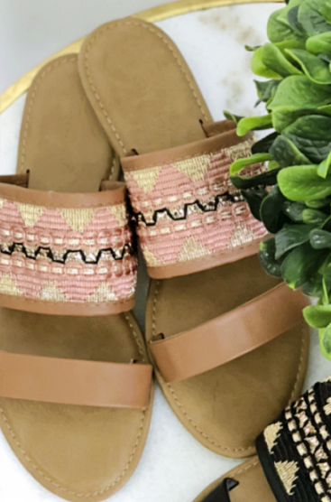 Blush Embroidered Sandals *Final Sale*