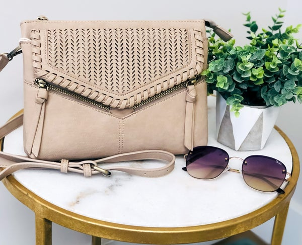 light taupe eyelet front purse