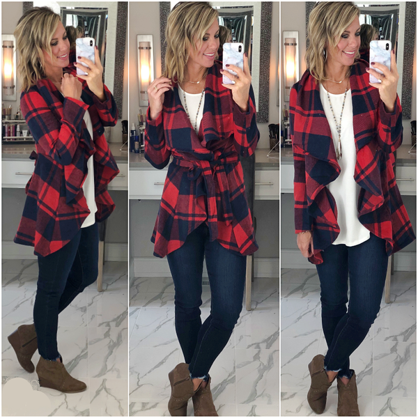 Red/Navy Plaid Dress Coat- *Final Sale*