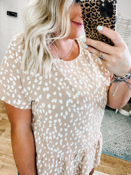 Taupe & Speckle Cutesy Top!