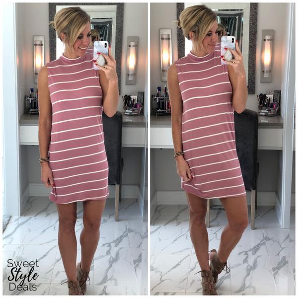 Pink/White Stripe Mock Nk Dress