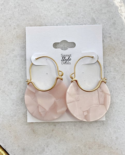 Round Pink Earring