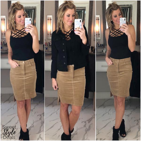 Sand Corduroy Skirt