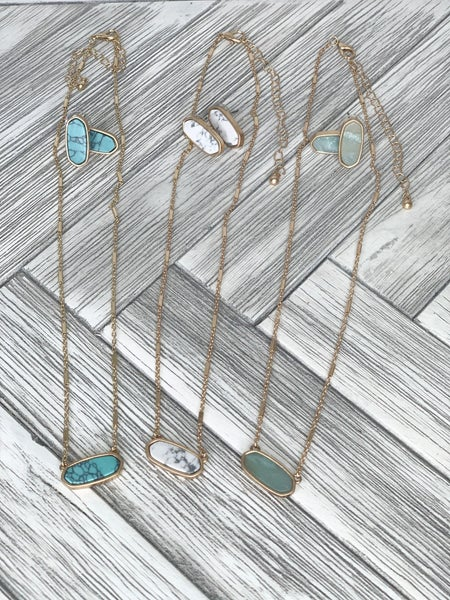 Stone necklace earrings (SET of 2)