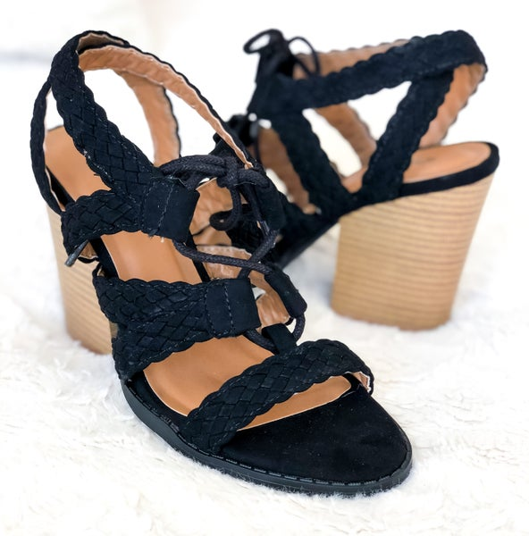 Black Braided Strap Heels *Final Sale*