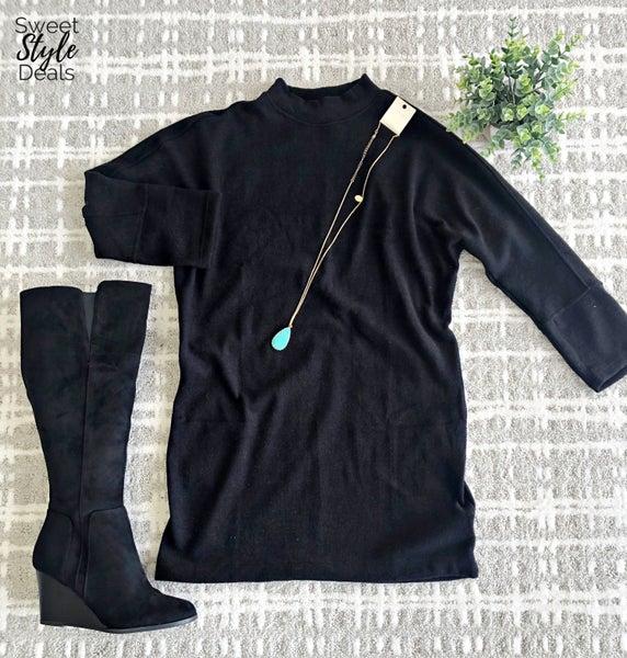 Super Soft black mock neck dolman dress *Final Sale*