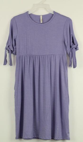 Tween Lavender Tie Sleeve Dress