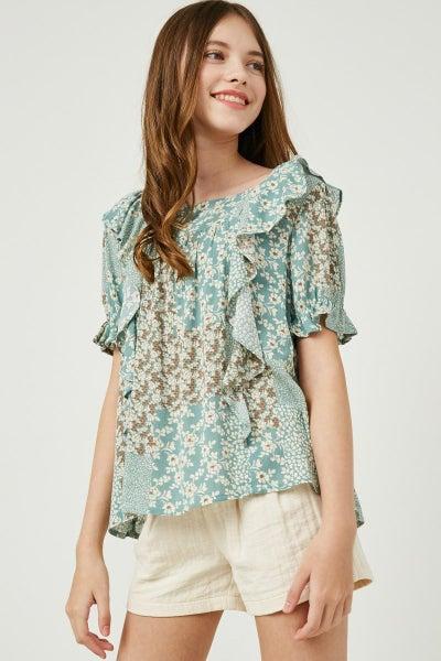 Hayden Mint Floral Sleeve Top