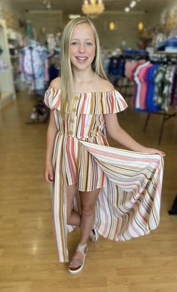 Coral/Tan Stripe Romper Dress