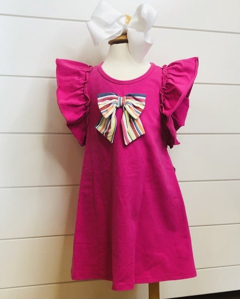 Bonnie Baby Hot Pink Bow Swing Dress