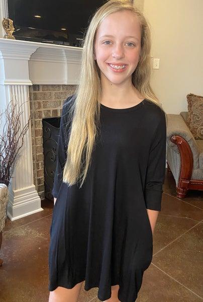 Black A Line Dress with Pockets