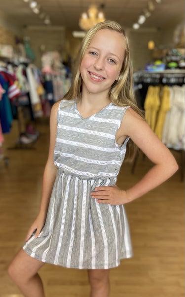 Tween Grey Striped Sleeveless Dress