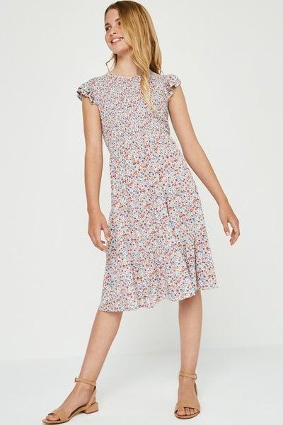 Tween Blush Floral Smocked Bodice Dress
