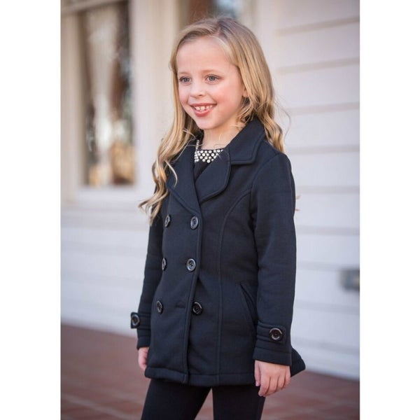 Black Fitted Pea Coat
