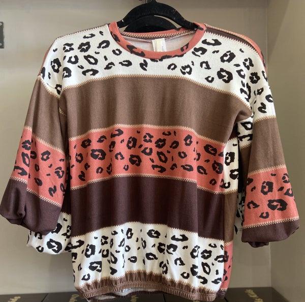 Rust Leopard Balloon Sleeve Sweater Top