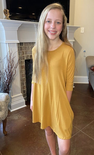 Mustard A Line Dress with Pockets