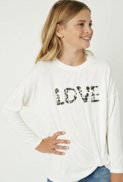 Tween LOVE Side Twist Top