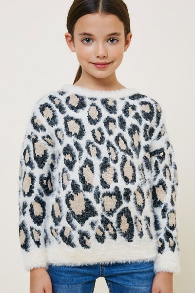 Ivory Leopard Mohair Sweater