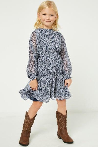 Tween Navy Blue Floral Tiered Dress