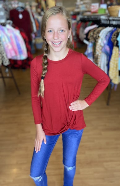 Red Long Sleeve Side Twist Top