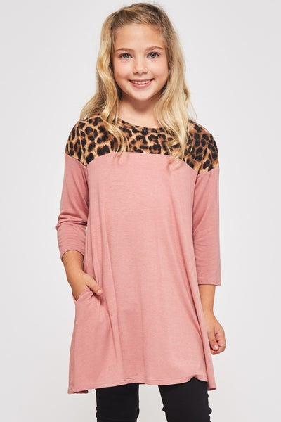 Mauve/Leopard A Line Dress