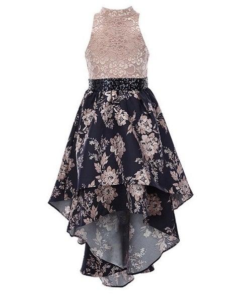 Navy/Pink Floral Lace Hi/Low Dress