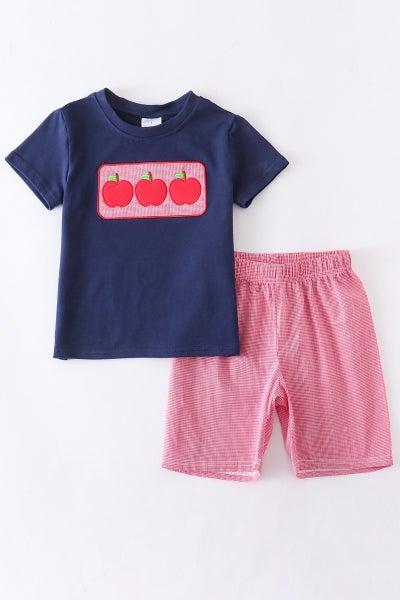 Apple Red Plaid Shorts Set