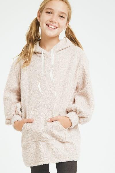 Tween Ivory Poodle Knit Pocket Hoodie