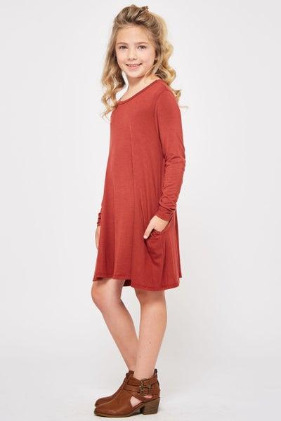Rust A Line Dress with Pockets