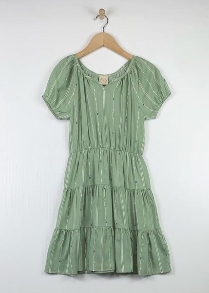 Tween Sage Tiered Short Sleeve Dress