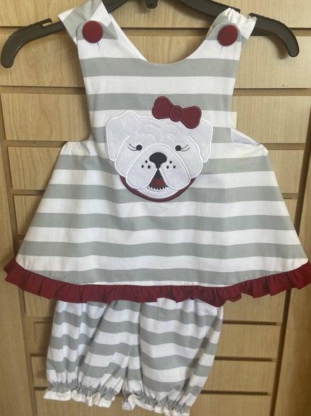 Girls Bulldog Applique Criss Cross Back Set