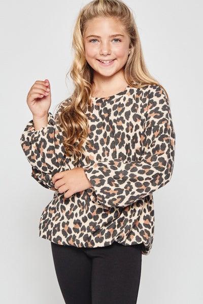 Tan Leopard  Balloon Sleeve Top