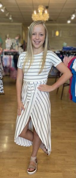 Grey/White Stripe Wrap Dress