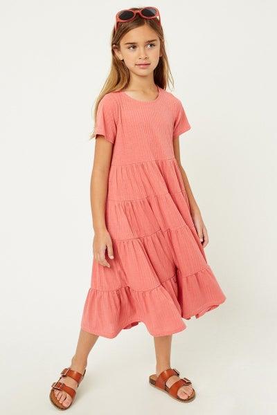Hayden Coral Ribbed Swing Dress