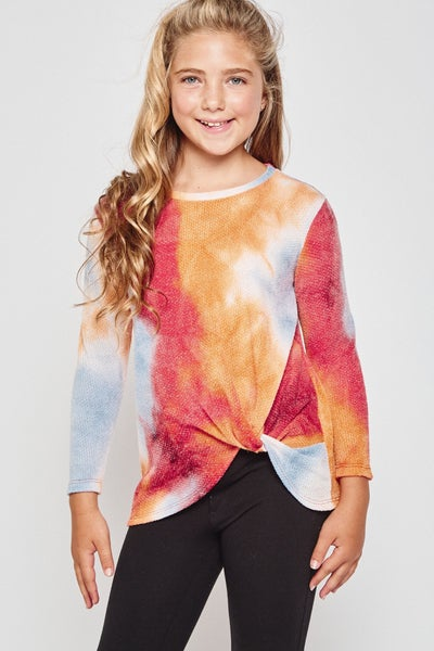 Coral/Blue Tie Dye Waffle Top