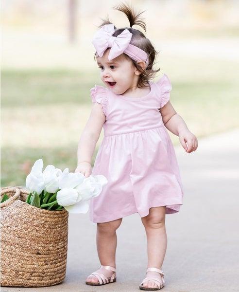 RuffleButts Lilac Flutter Dress