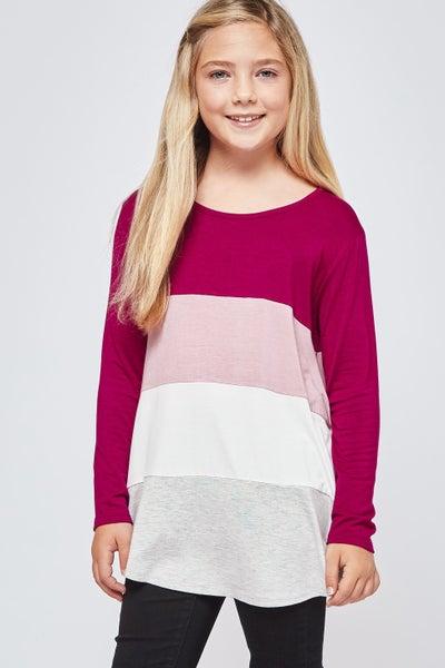 Magenta, Pink, Grey Color Block Top