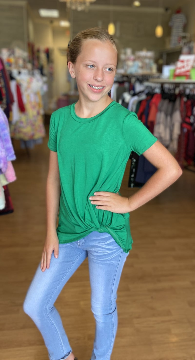 Green Short Sleeve Side Knot Top