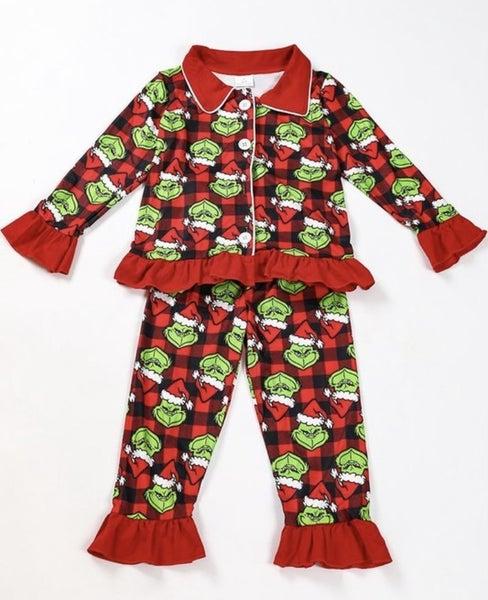 The Grinch Ruffle Pajama Set