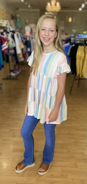 Tween Waffle Stripe Baby Doll Tunic Top- Pastel