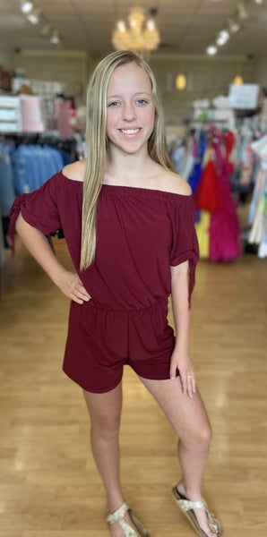Maroon Shorts Romper with Tie Sleeve