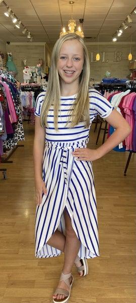 Royal Blue/White Stripe Wrap Dress